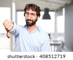 crazy hippie angry expression | Shutterstock . vector #408512719
