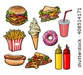 set of delicious and juicy fast ... | Shutterstock .eps vector #408514171