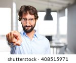 crazy hippie angry expression | Shutterstock . vector #408515971