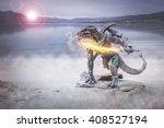 warrior lizard man taking... | Shutterstock . vector #408527194