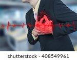 businessman having heart attack ... | Shutterstock . vector #408549961