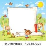 Cartoon Frame With Three Kids...