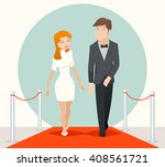 celebrities couple walking on a ... | Shutterstock .eps vector #408561721
