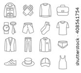Stock vector mens clothes line icons set shoe and jacket fashion man wear vector illustration 408561754