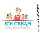 ice cream vendor with best... | Shutterstock .eps vector #408574771