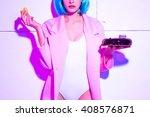 beautiful blue hair girl  cake... | Shutterstock . vector #408576871