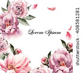 beautiful watercolor card with...   Shutterstock . vector #408581281
