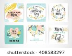 Stock vector set of happy mothers day lettering greeting cards with flowers vector illustration 408583297
