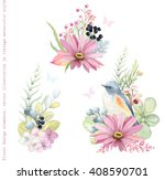Stock vector collection vector decorative design of flowers plants red flanked bluetail bird branches and 408590701
