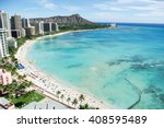 waikiki beach and diamond head  ... | Shutterstock . vector #408595489