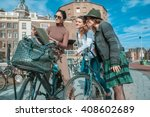 three friends exploring the... | Shutterstock . vector #408602689
