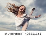 beautiful young happy smiling... | Shutterstock . vector #408611161