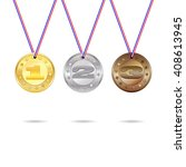 medals for first  second and... | Shutterstock .eps vector #408613945