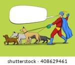 superhero man and dogs cartoon... | Shutterstock .eps vector #408629461