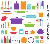 vector silhouettes of kitchen... | Shutterstock .eps vector #408631795