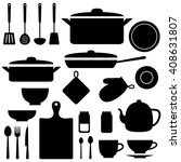 vector silhouettes of kitchen... | Shutterstock .eps vector #408631807