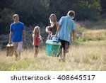 a family going on a picnic... | Shutterstock . vector #408645517