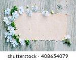floral frame  spring background ... | Shutterstock . vector #408654079