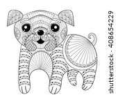 Zentangle Hand Drawing Dog For...