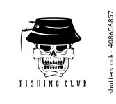 fishing club emblem with skull... | Shutterstock .eps vector #408656857