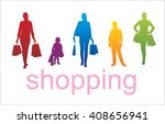 women with shopping bags | Shutterstock .eps vector #408656941