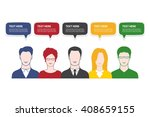 5 business people with speech... | Shutterstock .eps vector #408659155