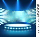 illuminated festive shiny blue... | Shutterstock . vector #408660589