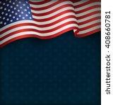 wavy usa national flag on blue... | Shutterstock . vector #408660781