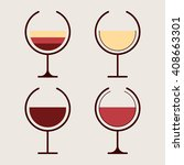 set glasses of wine. red  pink... | Shutterstock .eps vector #408663301