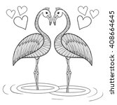 Coloring Page With Flamingo...
