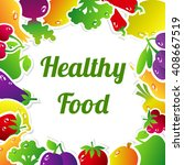 healthy food concept  vintage... | Shutterstock . vector #408667519