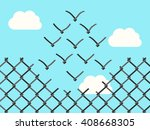 chain link fence transforming... | Shutterstock .eps vector #408668305