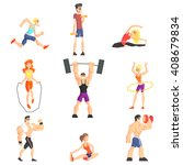 gym people set of  cool cartoon ... | Shutterstock .eps vector #408679834
