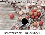 macaroons on plate with cup of... | Shutterstock . vector #408688291