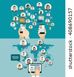 global social network abstract...   Shutterstock .eps vector #408690157