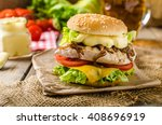 chicken burger with caramelized ... | Shutterstock . vector #408696919