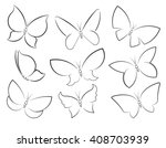 butterflies vector set outlined ... | Shutterstock .eps vector #408703939