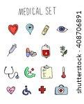 medical icons set over white...