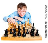 Nerd play chess on a white background - stock photo