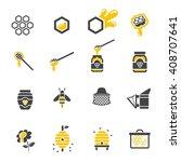 honey icon set   Shutterstock .eps vector #408707641