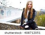 grunge fashion portrait of... | Shutterstock . vector #408712051