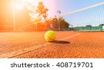 Close Up Tennis Ball And Net O...