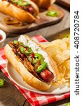 homemade seattle style hot dog... | Shutterstock . vector #408720784