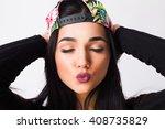 close up fashion portrait of... | Shutterstock . vector #408735829