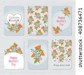 vector vintage floral cards set. | Shutterstock .eps vector #408736471