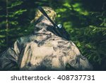 Forest Hunting For Wildlife. Illegal Poaching Activity Photo Concept. Illegal Forest Hunter. - stock photo