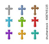 colored crosses silhouette... | Shutterstock .eps vector #408745135