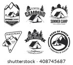set of vintage camping and... | Shutterstock .eps vector #408745687