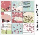 set of nine artistic creative... | Shutterstock .eps vector #408746779