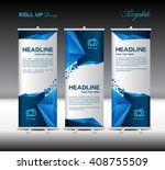 blue roll up banner template... | Shutterstock .eps vector #408755509